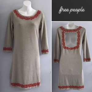 Free People Taupe Red Embroidered LS Dress • S